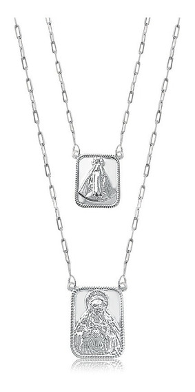 Escapulário Unissex Sagrado Coração Jesus Prata N. Senhora