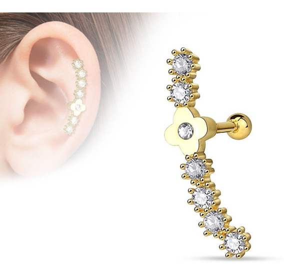 Piercings Cartilago Barbell Line Gold