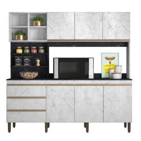 Cozinha Compacta Marselha 2,00m Mármore Branco E Preto - Pet