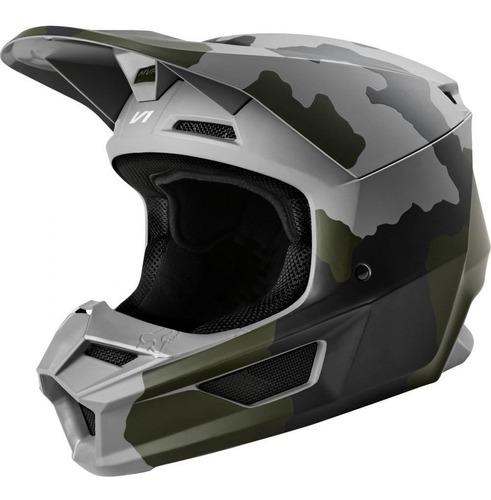 Capacete Fox V1 Mvrs Przm Camo Fosco Camuflado Motocross