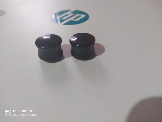 2 Alargadores Plug Preto De Acrílico 15mm