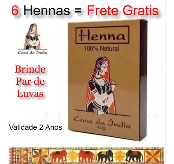6 Tinta Henna Indiana 100% Pura Cabelo Ruivo + Brinde Oferta
