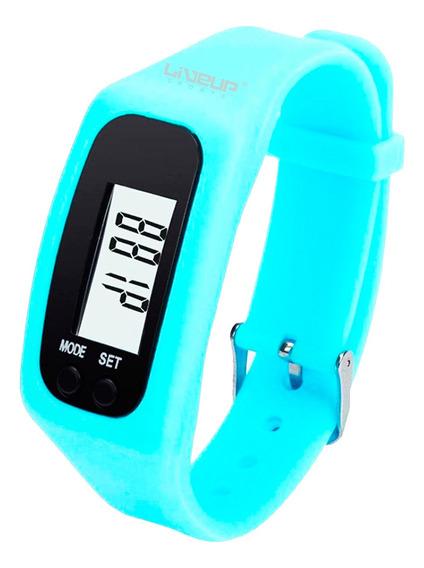 Relógio Pedômetro Contador De Passos E Calorias Azul Liveup
