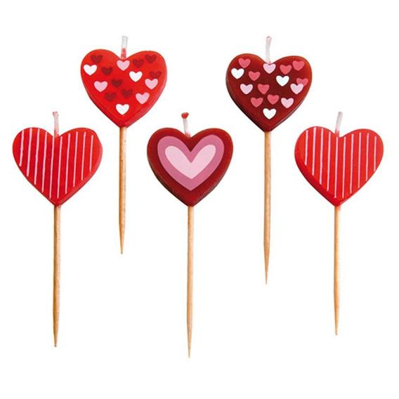 Velas Para Pastel En Forma De Corazón 5 Unidades Marca Ibili