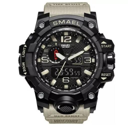 Relógio Esportivo Militar Smael Bege 1545bg