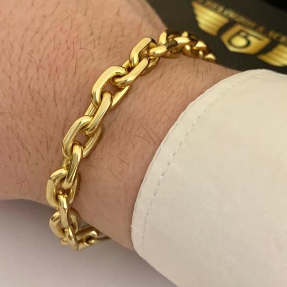 Pulseira Cadeado 8mm Banhado A Ouro 18k Masculina Luxo Camada Grossa De Ouro 750 Com Garantia Grossa Fecho Gaveta