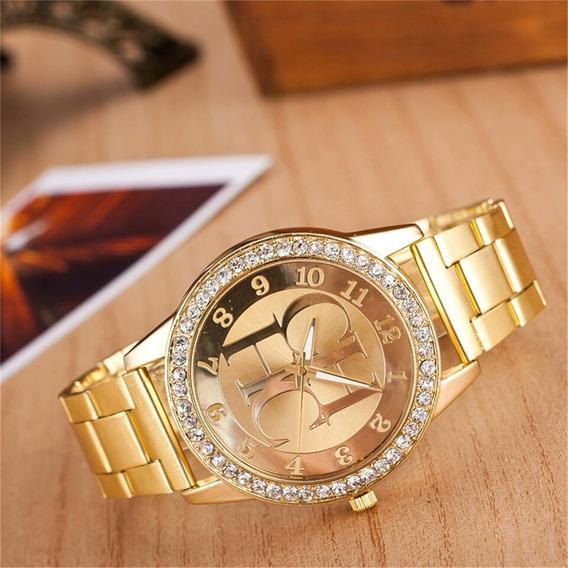 Relógio Feminino Ch Série Ouro Pedra Quartzo