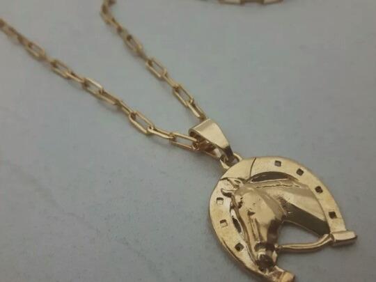 Cordão Banhado A Ouro 70 Cm Pulseira Ping Cavalo Ferradura
