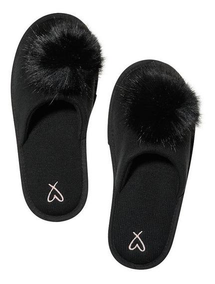 Pantuflas Negra Pompom 35-36 37-38 Victoria