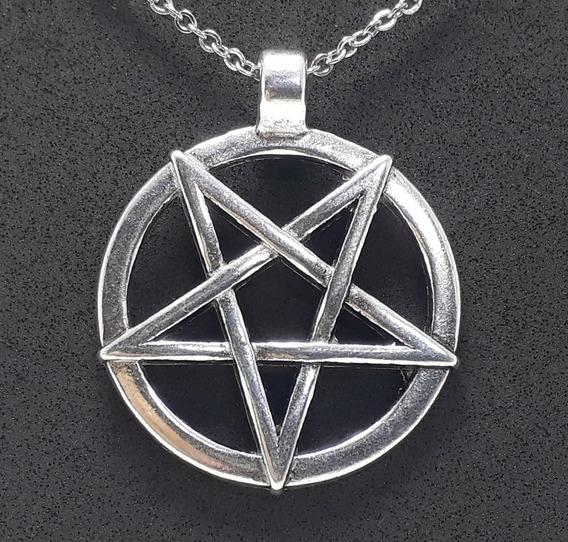 Pingente Pentagrama Invertido Baphomet Wicca Goetia Satanism