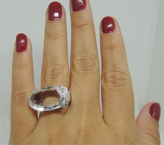 Glitter Joias - Anel Laço Ouro Cristal De Quartzo Diamantes