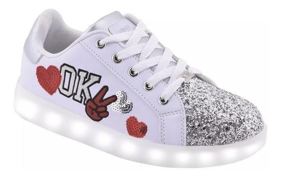 Zapatillas 47 Street Blanca Ok Con Luces Led Fty Calzados