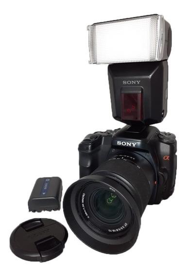 Câmera Sony Alpha 100 Impecável Flash + Alça + Cartão + Case