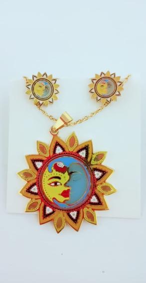 Collar Luna Sol Colores Y Aretes Acero Inoxidable