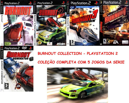 Burnout Todos 5 Jogos Collection Ps2 Patchs