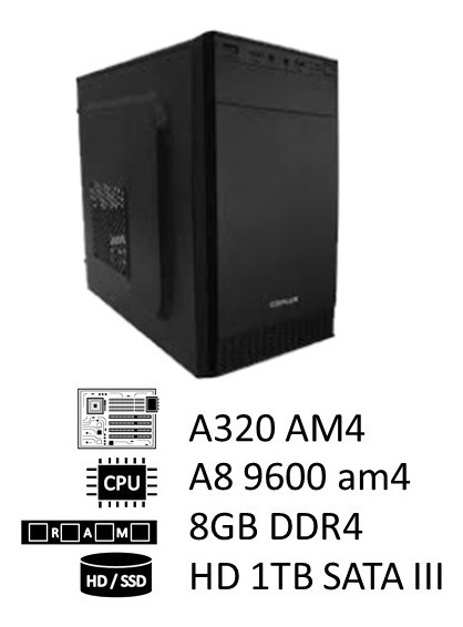 Pc Amd A8 9600 Am4, 8gb Ddr4 2400mhz, Hd 1tb