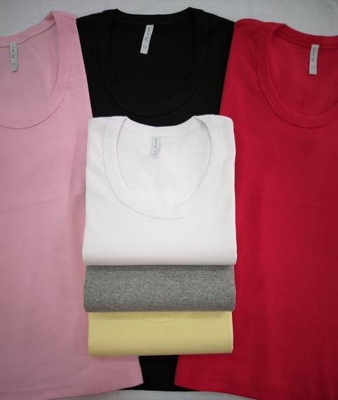 Camiseta Mujer X 12 Unidades Algodón C/ Redondo M/corta Lisa