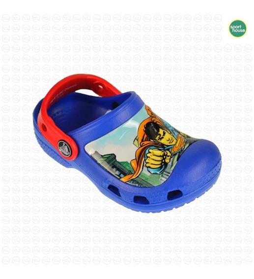 Sandalia Crocs Superman Niños Azul
