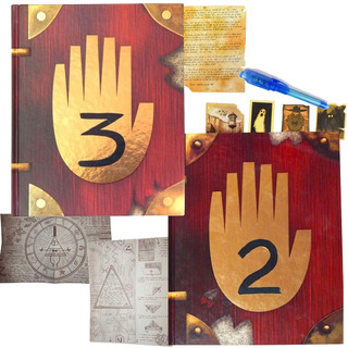 Diario Gravity Falls 2 Y 3 + Pluma Lampara Mapas Stickers