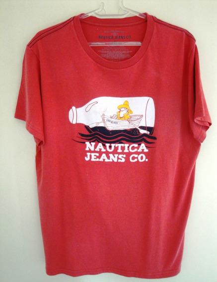 Camiseta Pescador,manga Curta, Nautica,l (veste M),eua.