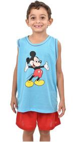 327 Pijama Regata Mickey Família Masculino Infantil Menino