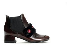 Zapato Mujer Bota Natacha Brush Off Guinda #690