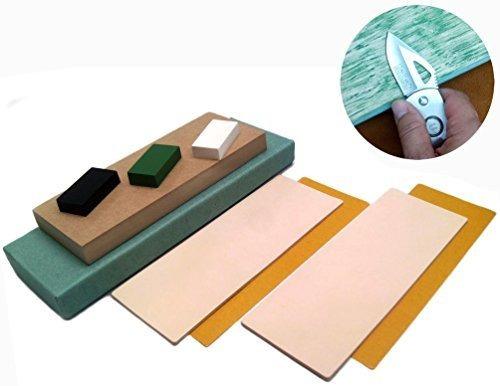 Imagen 1 de 7 de Upon Leather Strop Block Kit 2 Leather Honing Strops 3 Pulga