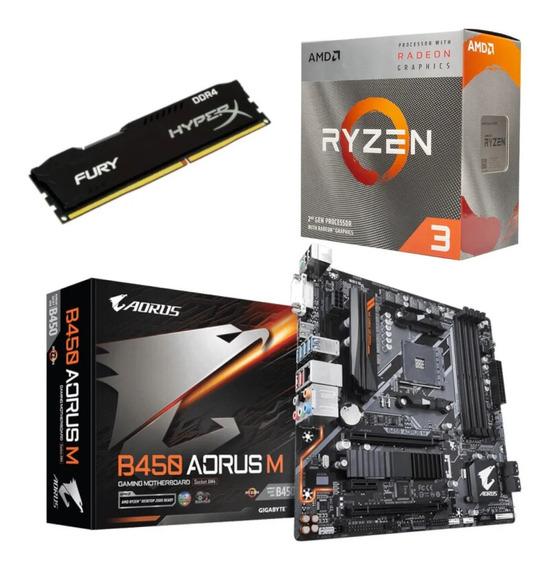 Kit Amd Ryzen R3 3200g + Aorus B450 M + Hx 8gb 2666 Mhz