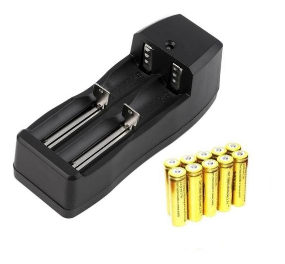Kit Carregador Duplo+4 Baterias 18650 3,7/4,2v 9800mah