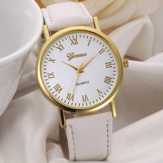 Relógio Feminino Geneva Branco Clássico Luxo