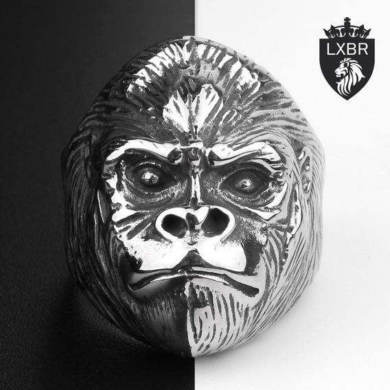 Anel Aço Inox Gorila Punk Moto Harley Metal Rock Lxbr A128