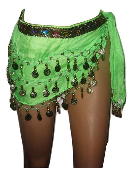 Caderín Danza Árabe Recto Gasa Crochet Piedras 3 Filas Moned