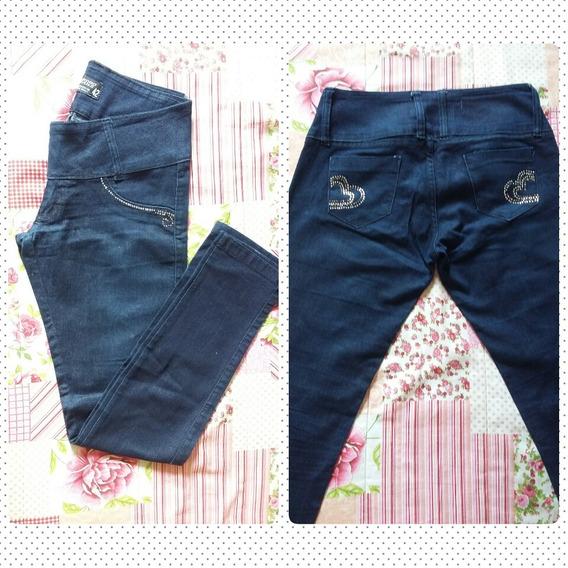 Calça Jeans Feminina Cintura Baixa Pedraria N 42 - Usada