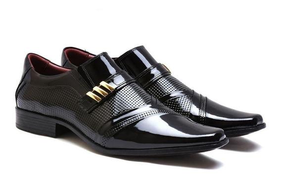 Sapato Social Masculino Couro Legítimo Gofer Verniz