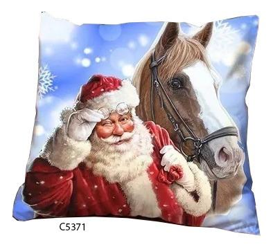 Capa De Almofada Papai Noel E Cavalo Comemoração C5371