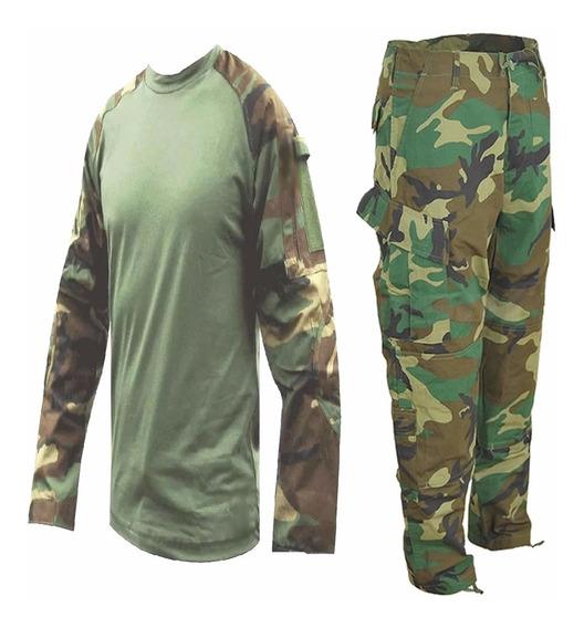 Uniforme Tactico Woodland Combat Shirt Y Pantalon Rip Stop