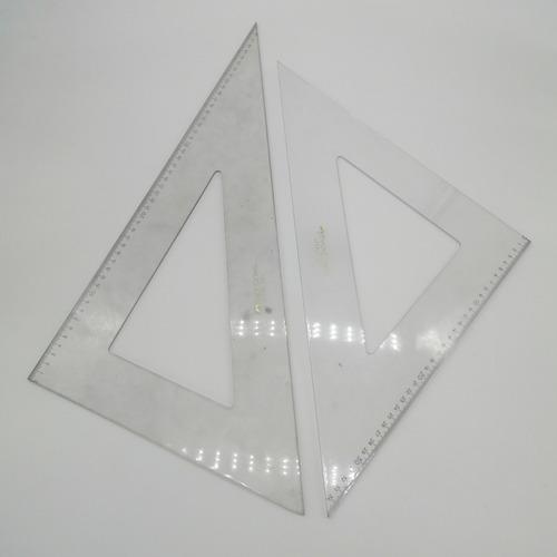 Juego Escuadras 45°/60° 50cm Faber Castell / Precio Juego