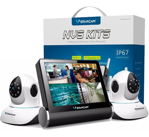 Kit 2 Camaras Seguridad Ip Wifi Inalambrica Motorizada Domo Hd P2p Dvr Ir Sd + Dvr Nvr Monitor Vstarcam + Cuotas