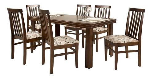 Conjunto De Mesa Essência Madeira Maciça Com 6 Cadeiras Uniã