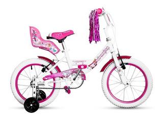 Bicicleta Rodado 16 Topmega Princess Nena Sillita Y Flecos