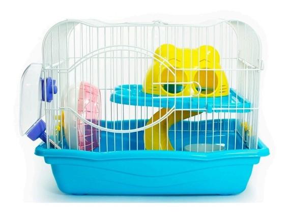Gaiola Hamster Desmontavel Com 2 Andares Brinquedos Completa