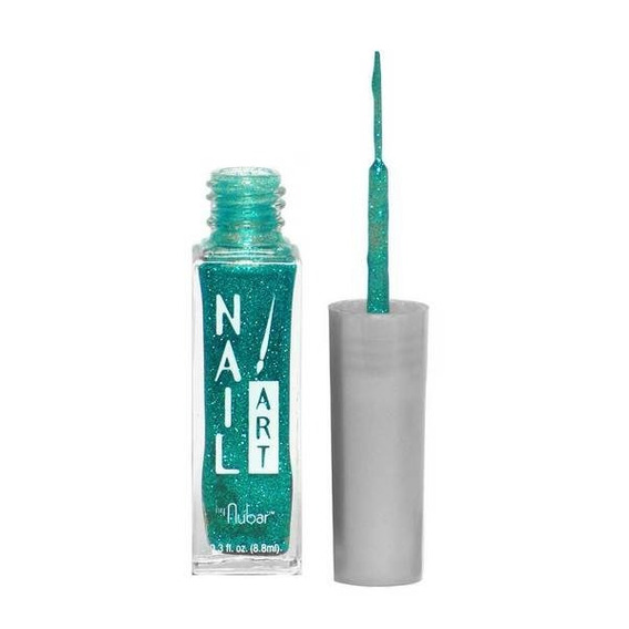 Esmalte Nubar Nail Art Teal Glitter Novo Nf