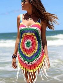 Saída De Praia E Piscina Colorida Tricot