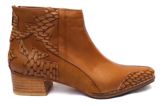 Zapato Mujer Bota Texana Cuero Vacuno Artesanal Taco Medio