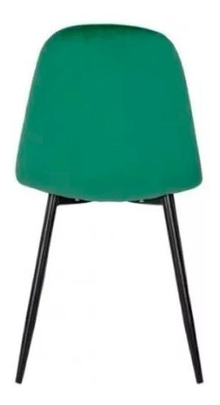 Silla Modelo Charlot Tapizada En Terciopelo Verde