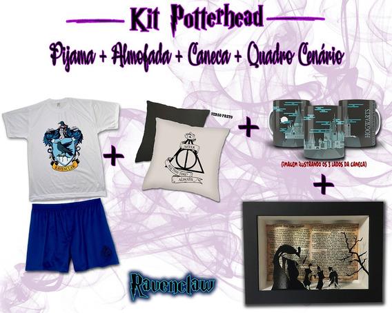 Kit Pijama Masc. + Almofada + Caneca + Quadro Harry Potter