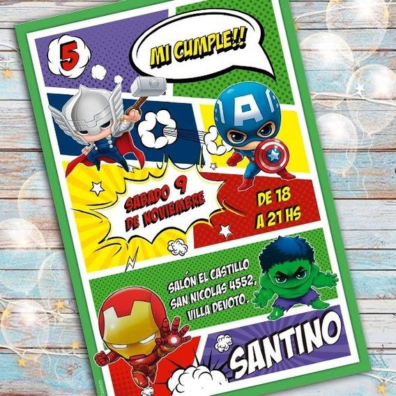 Invitacion Digital Cumple Avengers Vengadores Cabezones
