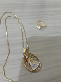 Colar Virgem Maria Banhado Em Ouro + Anel Com Cristal Usado