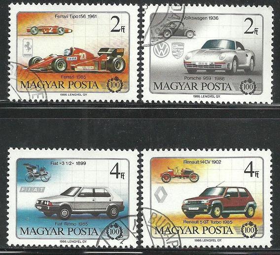 1986 Hungría Autos De Carreras 4 Sellos Cto Ferrari Fiat
