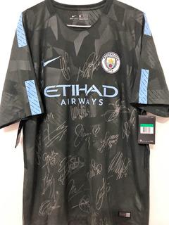 Camisa Manchester City 2017/18 Autografada 19 Jogadores